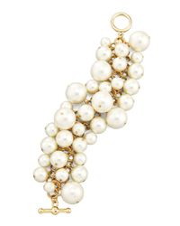Kenneth Jay Lane | Metallic Simulated Pearl Toggle Bracelet | Lyst
