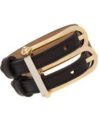 Balenciaga - Black Leather B Bracelet - Lyst