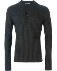 Dolce & Gabbana - Gray Knitted Henley Top for Men - Lyst