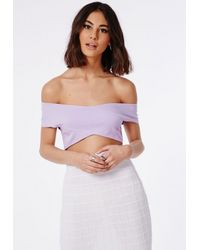 Missguided - Purple Bardot Crossover Crop Top Lilac - Lyst