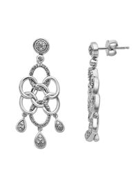 Lord & Taylor | Metallic Sterling Silver And Diamond Drop Earrings | Lyst