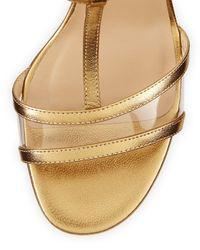 Diane von Furstenberg - Viola Metallic T-strap Sandal - Lyst
