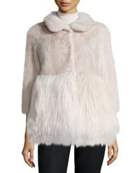 Co. - White A-Line Mink and Goat-Fur Jacket - Lyst