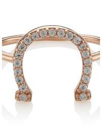 Aamaya By Priyanka | Pink Rose Gold Horse Shoe Ring | Lyst
