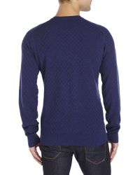Ben Sherman | Blue Textured Check Knit Sweater for Men | Lyst