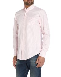 GANT | Pink Gramercy Banker Stripe Classic Fit Shirt for Men | Lyst