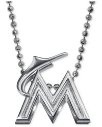 Alex Woo | Metallic Mlb Collection By Sterling Silver Miami Marlins Pendant Necklace | Lyst