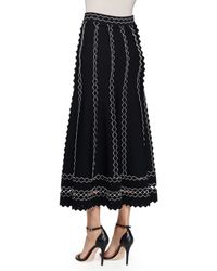 Alexander McQueen - Black Flared Midi Skirt W/contrast 3d Piping - Lyst