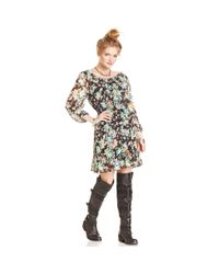 American Rag - Black Floral-print Chiffon Dress - Lyst