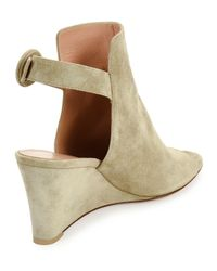 Gianvito Rossi - Natural Suede Peep-toe Wedge Sandal - Lyst