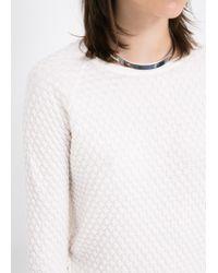 Mango - White Textured Fine-Knit Sweater - Lyst