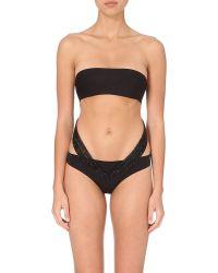 La Perla | Black Glimmering Soutache Mesh-detail Swimsuit | Lyst