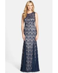 Betsy & Adam - Blue Lace Mermaid Gown - Lyst