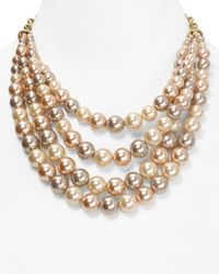 Carolee - Metallic Making Me Blush 4row Torsade Necklace 16 - Lyst