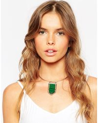 ASOS - Green Abstract Nugget Torque Necklace - Lyst