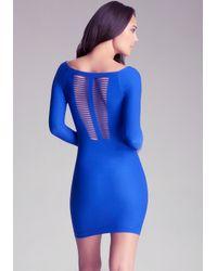 Bebe - Blue Cage Detail Dress - Lyst