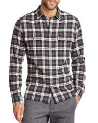Vince - Black Plaid Military Button Down Shirt - Slim Fit for Men - Lyst