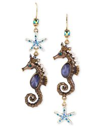 Betsey Johnson | Multicolor Gold-Tone Seahorse Mismatch Drop Earrings | Lyst