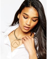 ASOS - Metallic Sleek Torque Necklace With Open Disc Pendant - Lyst