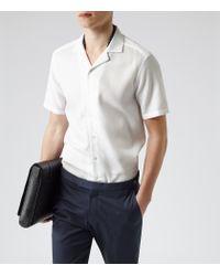 Reiss - White Alder Textured Cuban Collar Shirt for Men - Lyst