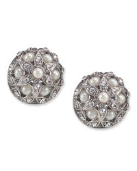 Carolee - White Glass Pearl Crystal Small Button Stud - Lyst