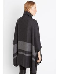 Vince - Gray Blanket Stripe Cape - Lyst