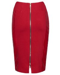 James Lakeland | Red Faux Leather Zip Skirt | Lyst