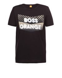 BOSS Orange | Black Cotton T-shirt 'tripolo 1' for Men | Lyst