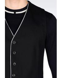 Armani - Black Gilet In Stretch Cotton Pique for Men - Lyst