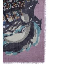 Franco Ferrari - Purple Floral Collage Wool-cashmere Scarf - Lyst