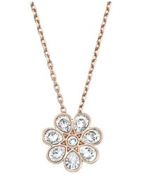 Swarovski | Pink Rose Gold-Tone Crystal Flower Pendant Necklace | Lyst