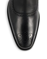 Ralph Lauren Collection Black Garrison Perforated Leather Boots