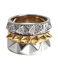 Noir Jewelry | Metallic Stack Pyramids Ring Set | Lyst