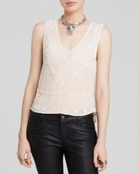Free People | Natural Run With It Embellished Top | Lyst