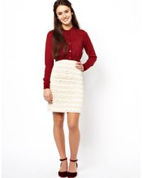 Darling - White Scallop Edge Skirt - Lyst