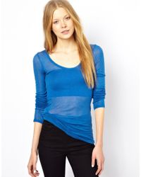 American Vintage | Blue Round Neck T-Shirt With Long Sleeves | Lyst