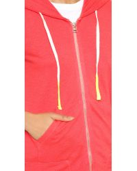 Sundry - Red Zip Front Pocket Hoodie - Sunset - Lyst