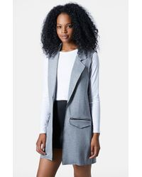 TOPSHOP - Gray Sleeveless Ponte Jacket - Lyst