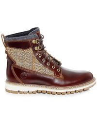 Timberland | Gray Men's Britton Hill Leather & Tweed Boots for Men | Lyst