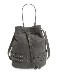 She + Lo | Gray 'aim High' Perforated Drawstring Bag | Lyst