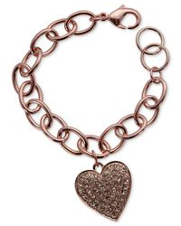 Guess | Pink Rose Gold-tone Pavé Crystal Heart Charm Bracelet | Lyst
