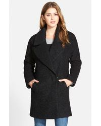 Betsey Johnson | Black Notch Collar Boucle Coat | Lyst