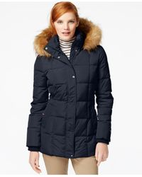 Tommy Hilfiger | Blue Faux-fur-trim Quilted Puffer Coat | Lyst