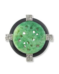 Kenneth Jay Lane | Green Jade Art Deco Circle Brooch | Lyst
