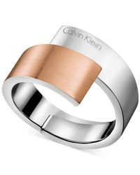 Calvin Klein - Gray Two-tone Bypass Ring - Lyst