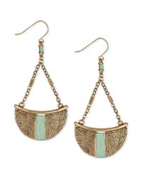 The Sak - Metallic Goldtone Mint Threadwrapped Batik Trapeze Drop Earrings - Lyst