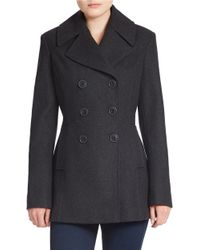Jones New York | Gray Double-breasted Wool-blend Peacoat | Lyst