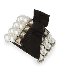 Lanvin | Black Pearly Ribbon Bow Cuff Bracelet | Lyst