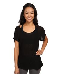 Beyond Yoga | Black Godet Back Tee | Lyst