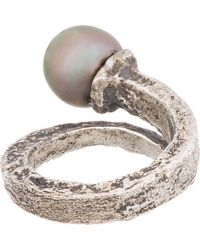 Pearls Before Swine - Metallic Silver Forged Tahitian Pearl Ring - Lyst